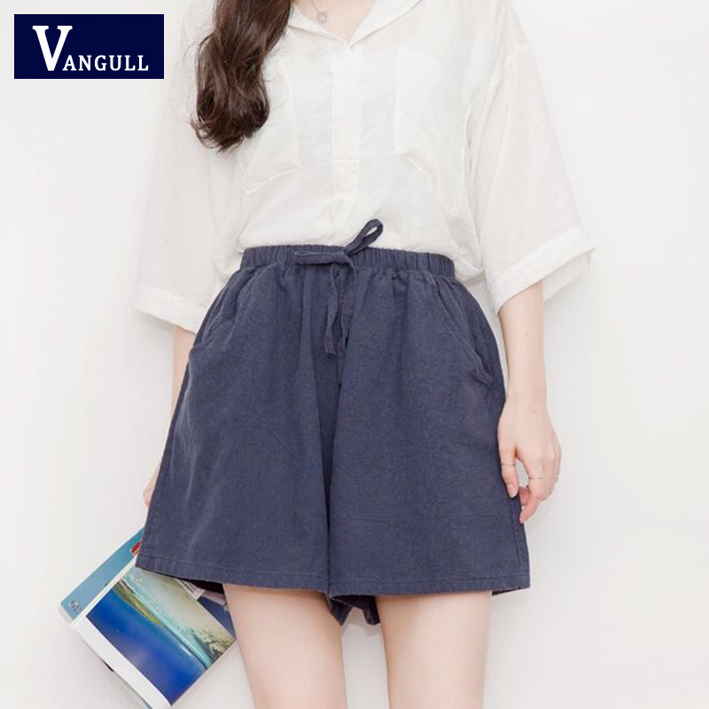 Vangull Cotton And Linen Wide-leg Shorts Summer Lace Up Elastic High Waist A-line Loose Motion Casual Soft Plus Size Shorts