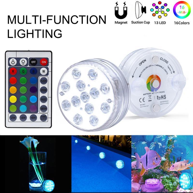 1/2/4Pcs luci a LED sommergibili telecomando IR 13 LED RGB lampada subacquea Spa lampada sommergibile per acquario Base vaso