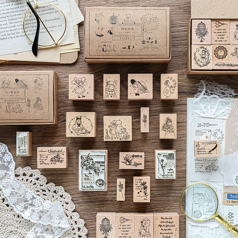 36PCS/4SETS fairy Tales series stamp DIY wooden rubber stamps for scrapbooking stationery scrapbooking standard stamp