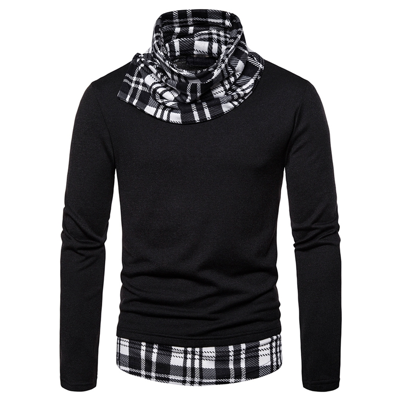 HEFLASHOR Men Knitted Sweater Casual Patchwork  Jacket Three-color Plaid Deep High Collar Pullover Men's Fashion Knitted Sweater