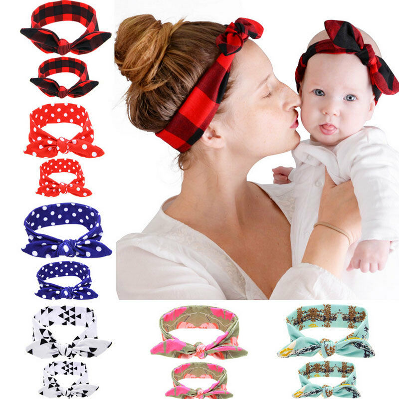 2Pcs/Set Mother And Daughter Kids Baby Girl Headband Hair Band Elastic Knotted Headwear Accessories