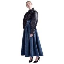 빈티지 스커트 긴 Steamounk 중세 여자 우아한 걷기 솔리드 Hight 허리 중세 르네상스 의상 스윙 스커트