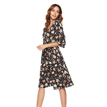 Temperament Commuter Chiffon Dress 2021 Spring/summer New Style Flare Sleeve V-Neck Printed Casual Dress Mid-Length Women