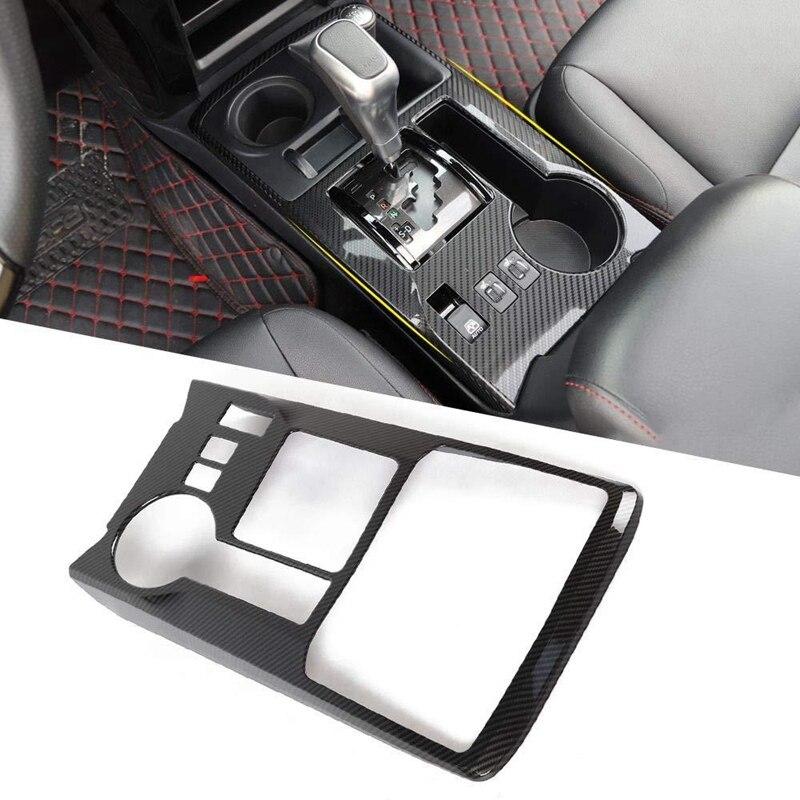 Gear Shifter Panel Decoration Trim Frame Cover For 2010-2019 Toyota 4Runner, Carbon Fiber Pattern