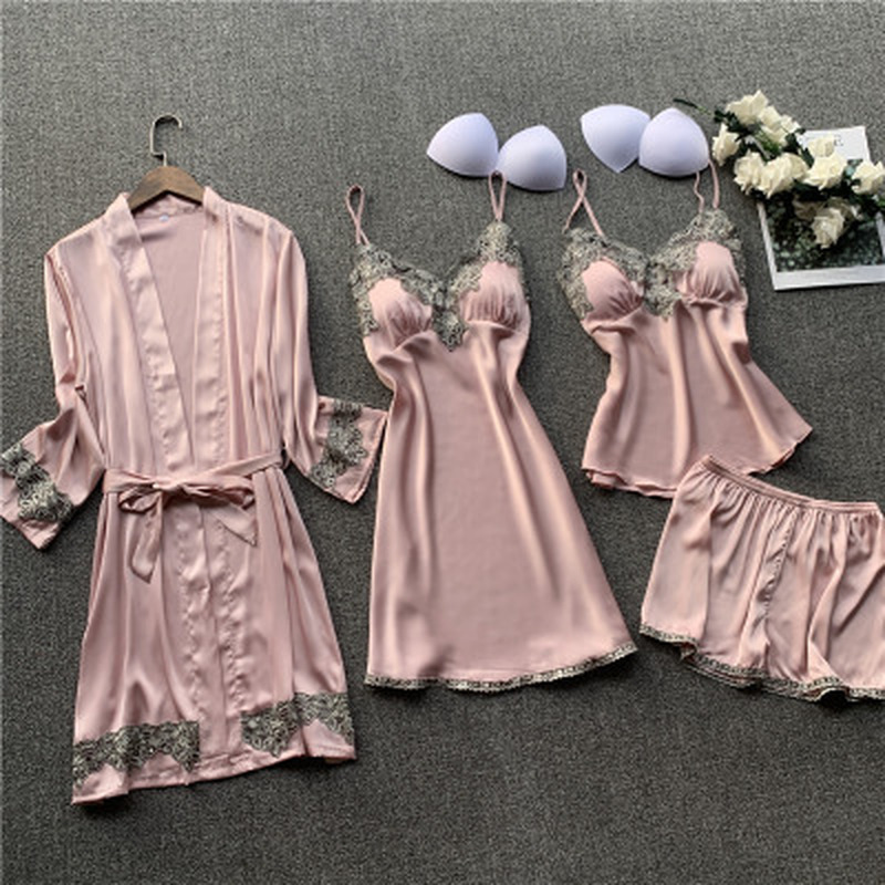 QWEEK Silk Pajama Sets Sleepwear Women Satin Pijama Sexy Lace Homewear Lingerie 4 Pieces Lounge Sleeping Set With Chest Pads