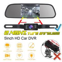 IP67 5inch Wireless Car Rear View Camera with mirror Monitor System kit Assistance 2.4Ghz Wireless Camera system kit