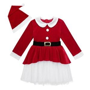 Image 3 - אדום ילדי בנות חג המולד שמלות רך קטיפה ארוך שרוולי חגורת רשת שמלה עם כובע סט ילדי סנטה קלאוס קוספליי חג המולד שמלה