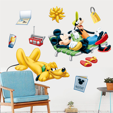 disney mickey goofy pluto vacation wall stickers for kids rooms bedroom home decor cartoon decals pvc mural art diy posters