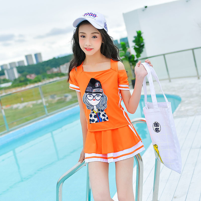 Big Kid Swimwear Cartoon Figure Cute Children Bathing Suit Skirt Two-piece Swimsuits New Style Conservative Tour Bathing Suit Th