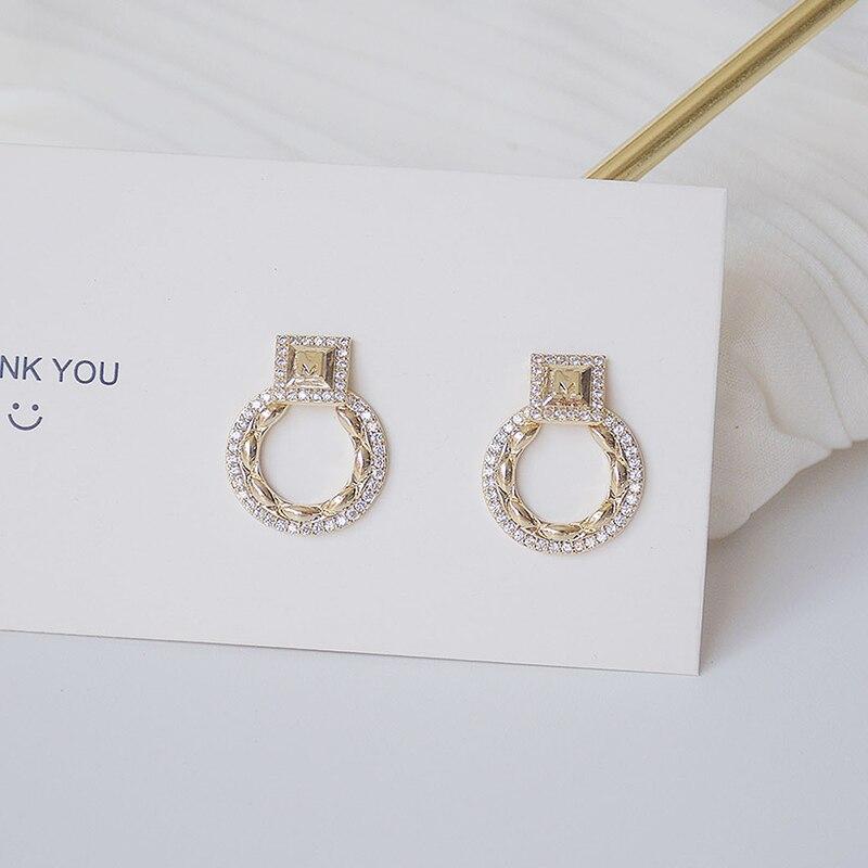 14k or réel exquis cercle CZ femmes boucles d'oreilles haute qualité charme Mircro incrusté AAA zircone boucle d'oreille cadeau d'anniversaire 4