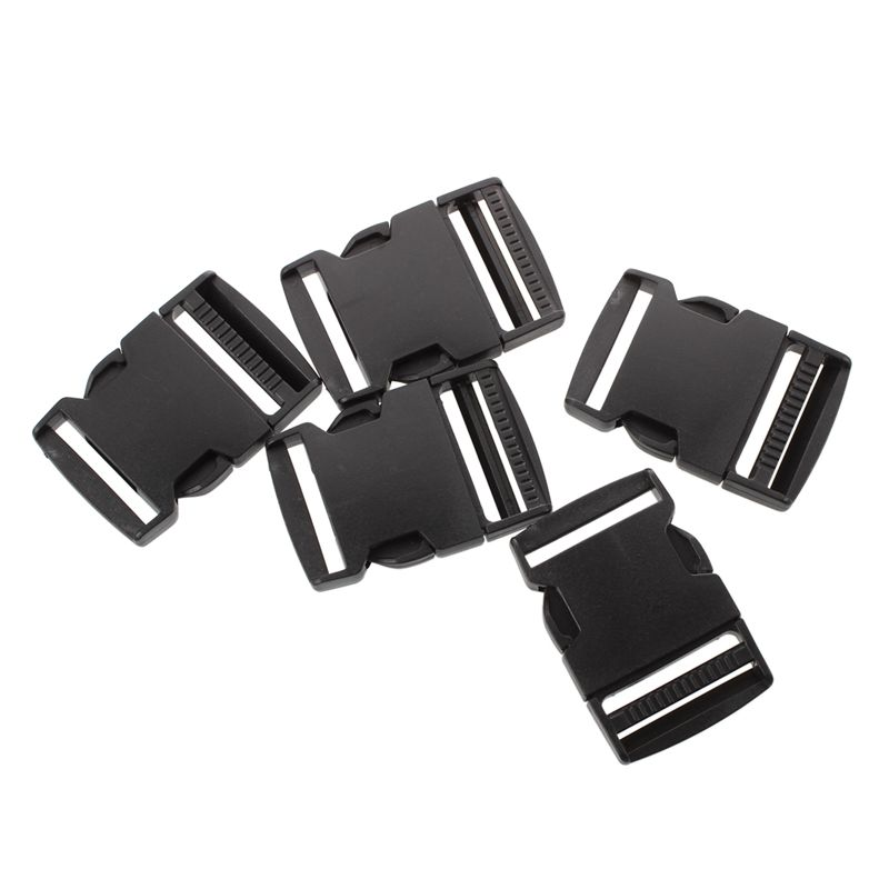 Curved Plastic Side Quick Release Buckle For Bag 5 Pcs Black