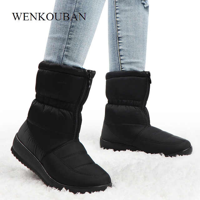 Winter Boots Women Waterproof Warm Snow Ankle Boots Black Ladies Fur Platform Shoes Front Zip Non-slip Wedges Bota Feminina 2020