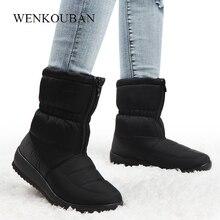 Buty zimowe damskie wodoodporne ciepłe trzewiki na śnieg czarne damskie futrzane platformy buty przód Zip antypoślizgowe kliny Bota Feminina 2020