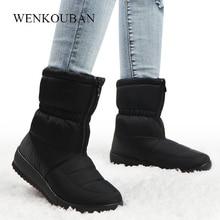 รองเท้าบูทกันน้ำWARMข้อเท้าสีดำสุภาพสตรีขนแพลตฟอร์มรองเท้าซิปด้านหน้าลื่นWedges Bota feminina 2020