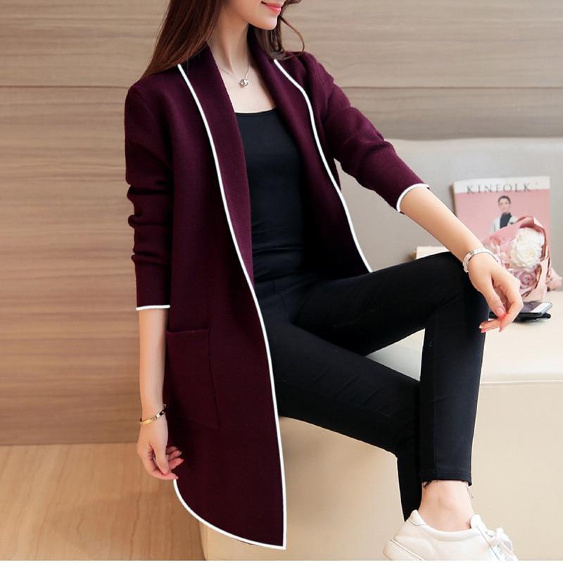 Autumn Winter New Korean Women's Loose All-around Solid Color Medium Length Long Sleeve Cardigan Coat Women's Fashion