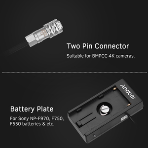 Image 2 - Andoer Blackmagic קולנוע המצלמה BMPCC 4K אספקת חשמל הר צלחת מתאם עם אביב כבל עבור Sony NP F970 F750 F550 סוללה
