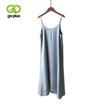 GOPLUS Womens Dress Satin Sling Strap Dresses Sexy Summer Backless 2019 Ropa Mujer Sukienki Letnie Robe Femme Vestidos