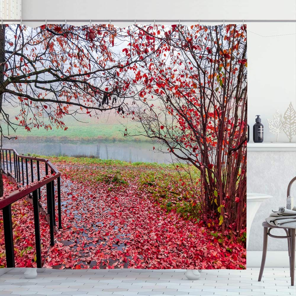 Shower Curtain Set with Hooks 66x72 Outdoor Red Autumn Colorful Forest Park Stairway Mist View Nature Parks Design Season
