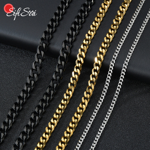 Sifisrri Punk Stainless Steel 3/5/7mm Curb Cuban Necklaces For Men Women Black Gold Basic Link Chains Solid Metal Jewelry Gift