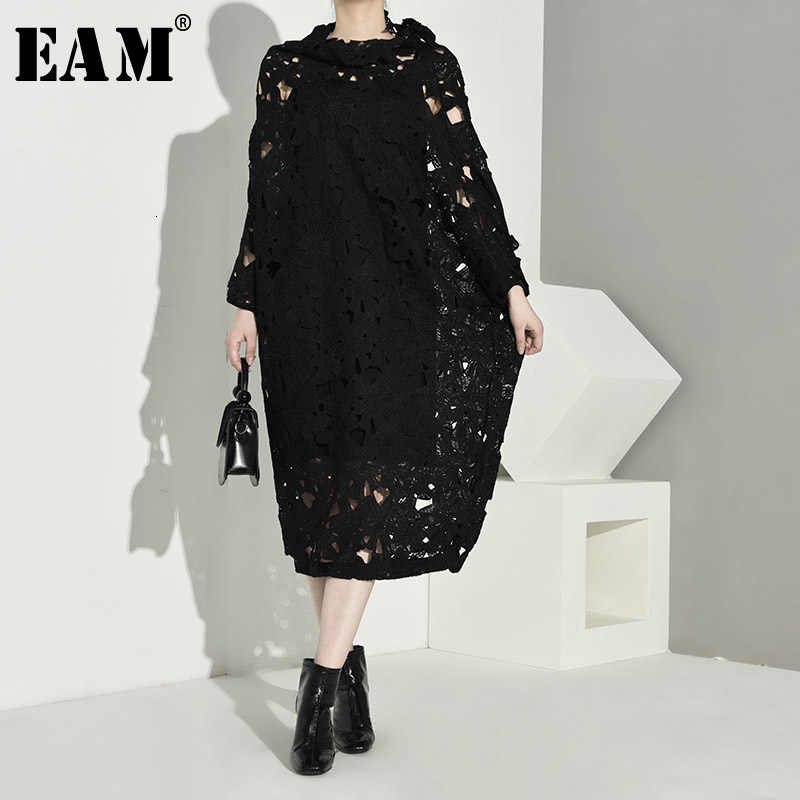 [EAM] Vrouwen Black Lace Hollow Out Big Size Jurk Nieuwe Ronde Hals Lange Mouw Losse Fit Mode Tij lente Herfst 2019 Q09101