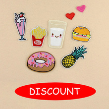 8Pcs/Set Embroidery Patch French Fries Hamburger Pineapple Doughnut Milk Heart DIY Sticker For Bag Hat Clothes Patches Drop