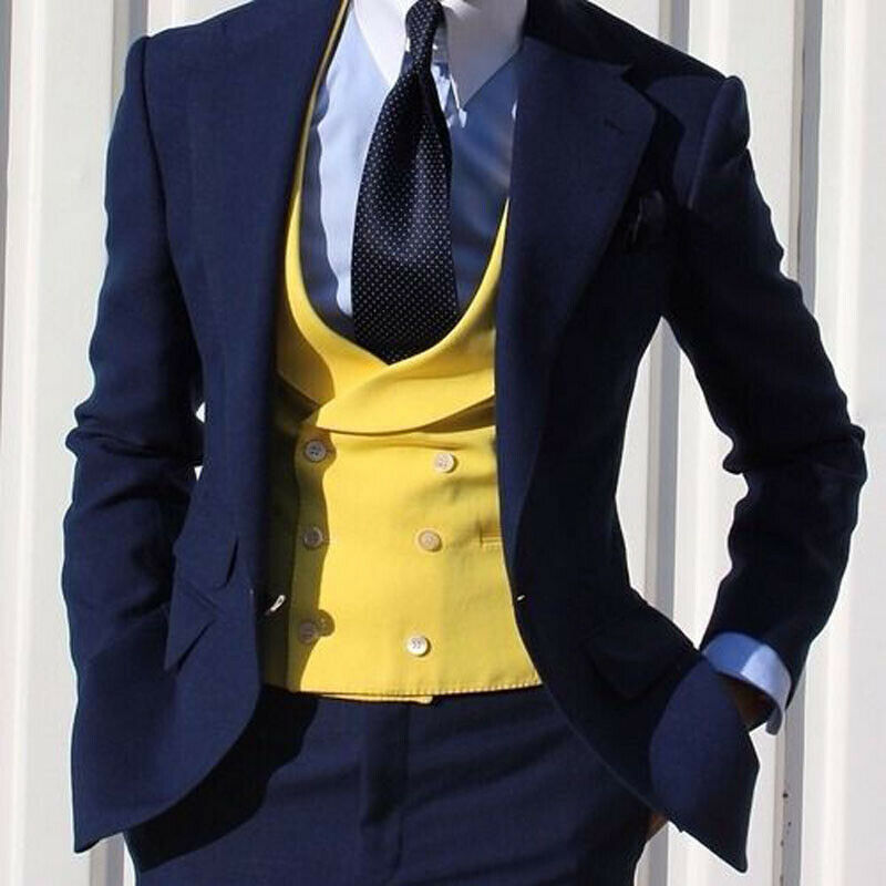 Men's suit Yellow Double Breasted Vested Suits Wedding Groom Men's Formal Suits 3 Pieces