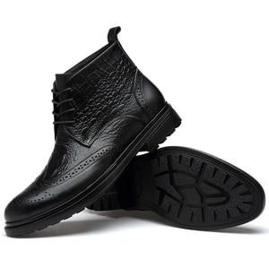 Image 5 - plus size men luxury fashion cow leather boots crocodile pattern brogue shoes carved bullock ankle boot warm cotton winter snow botas sapatos hombre