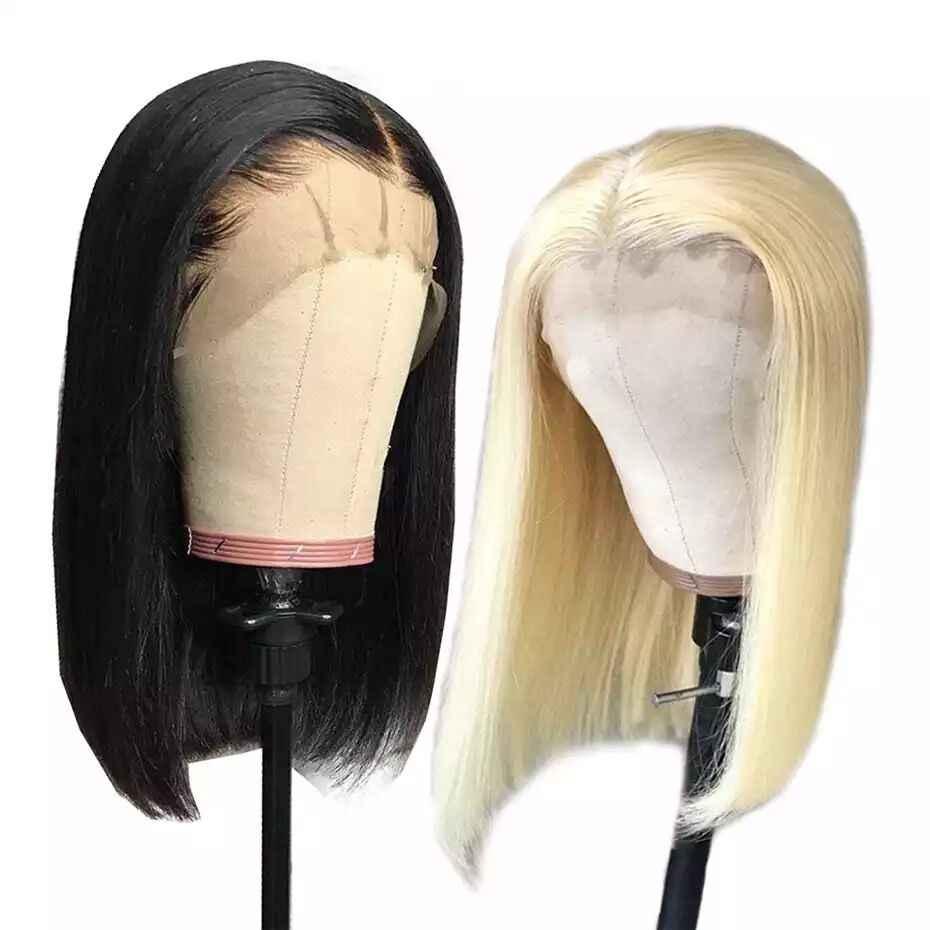Bob Kant Voor Menselijk Haar Pruiken Hot Star Blonde Lace Front Pruik Pre Geplukt Haarlijn Braziliaanse Staright Kort Menselijk Haar pruiken Remy