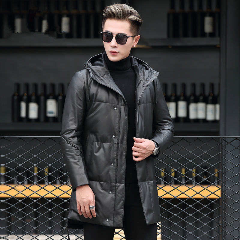 Genuine Leather Jacket Men Clothes Winter Hooded Donw Jacket Mens Sheepskin Coat Chaqueta Cuero Hombre P-56 ZL915