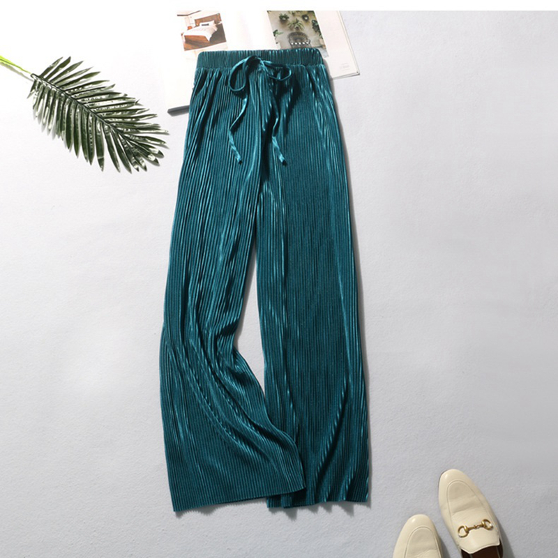 Spring And Autumn 2019 Silk Pleated Pants 9 Points Cool, Fashionable And Elastic Pants