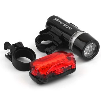 5 Water Resistant LEDs Bike Bicycle Head Light + Rear Safety Flashlight + Bracket Bicycle Accessorie Bicycle Light Black+ Red image