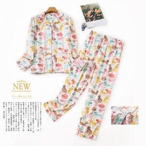 Image 4 - Inverno 100% algodão escovado conjuntos de pijamas feminino outono coréia doce puro algodão pijamas pijamas mujer