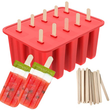 10 Cavities Popsicle Molds Shapes Homemade Food Grade Silicone Frozen Ice Pop Maker with Popsicle Sticks DIY Ice Cream Mold zhenxing 4 cup ice pop making molds w sticks translucent white green