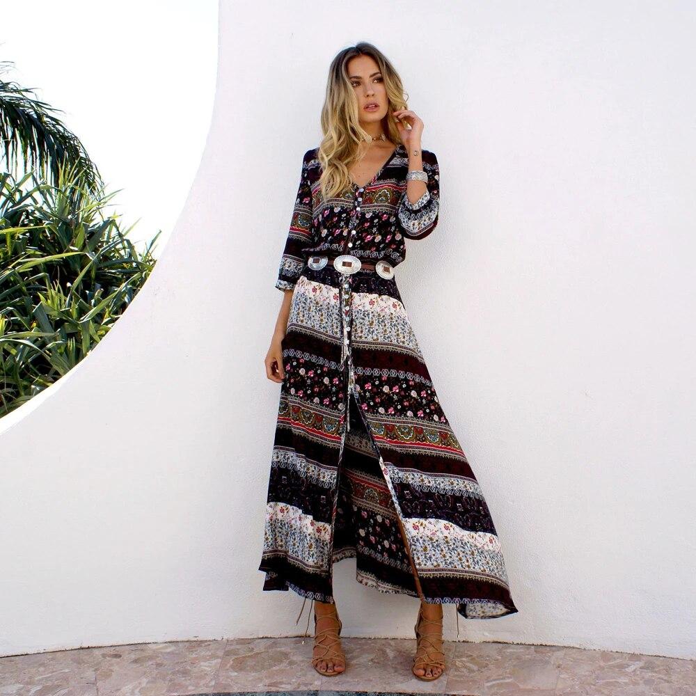 US $5.5 Spring Summer Long Bohemian Beach Dress Women Half Sleeve  Vintage Retro Floral Maxi Dresses Vestidos Mujer SundressDresses -  AliExpress