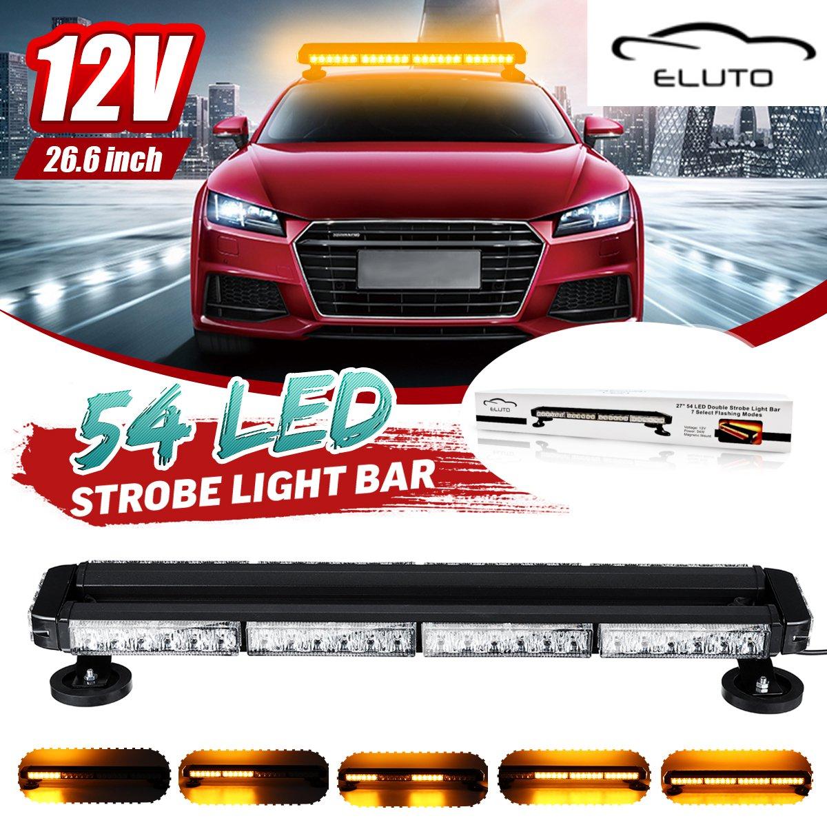 54 LED 4 Side Car Roof Advisor Beacon Strobe Flashing Security Warning Light Bar Emergency Light Magnetic 7 Flash Patterns
