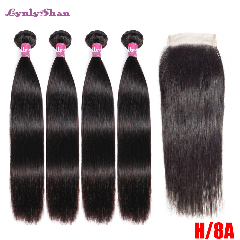 Lynlyshan Straight 4Bundles With 4*4 Closure Brazilian Remy Hair Weave 100% Human Hair Bundle With Closure Hair Extension