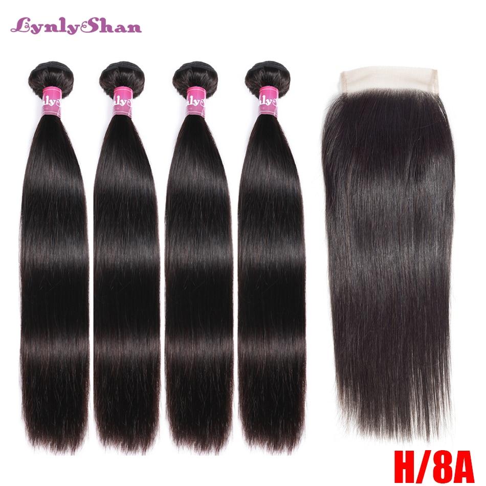 Lynlyshan Straight 4Bundles With 4*4 Closure Brazilian Remy Hair Weave 100% Human Hair Bundle With Closure Hair Extension
