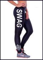 Fashion casual black side white English alphabet s leggings leggings
