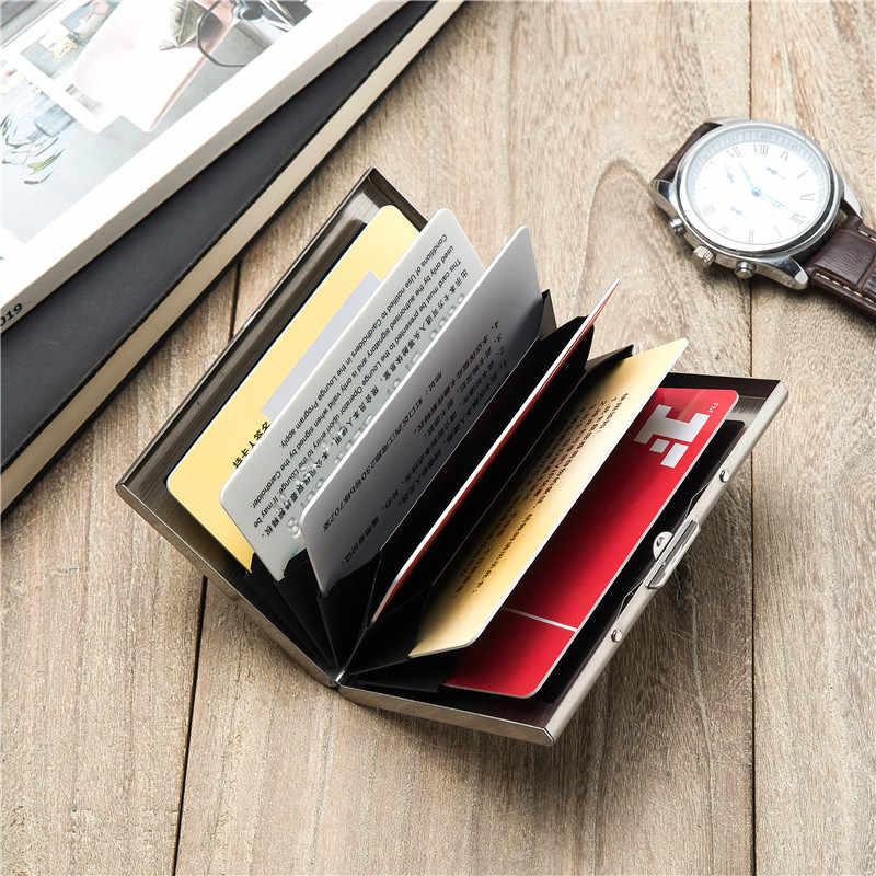 Bisi Goro 2020 Mannen En Vrouwen Business Creatieve Rfid Credit Card Holdeer Zwart Portefeuilles Metalen Mode Id Houders Card Case