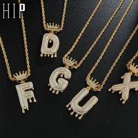 Hip Hop-colgante de A-Z cúbica brillante para hombre, cadena con letras y circonita de corona de goteo, joyería