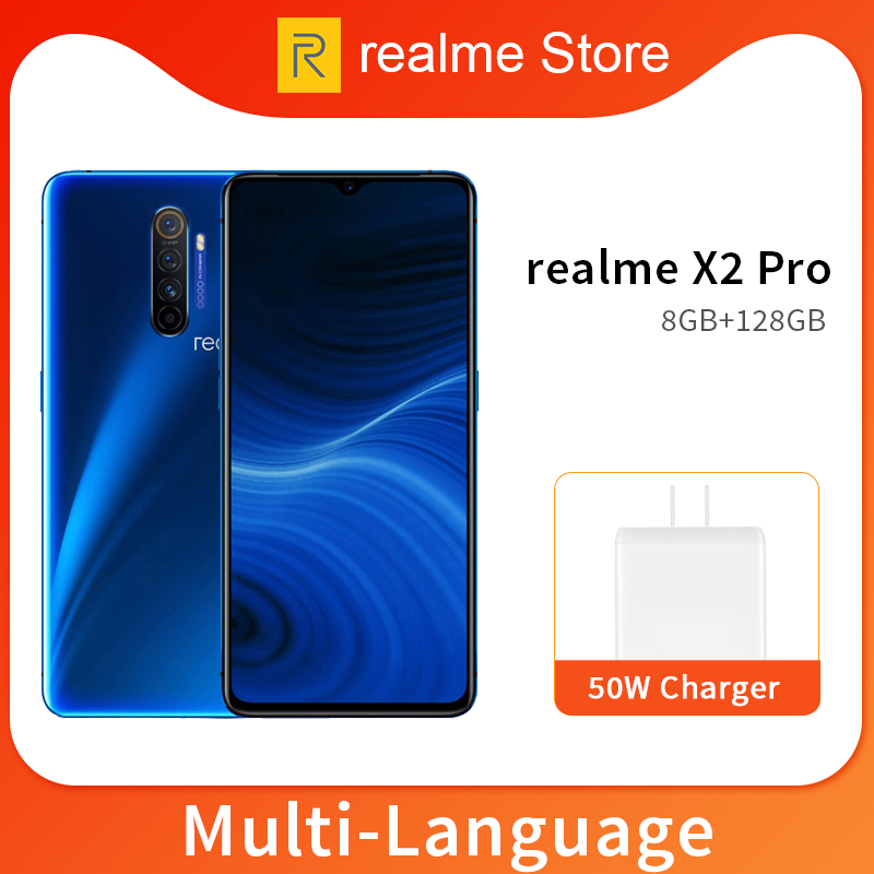 Realme X2 Pro X 2 8GB 128GB 6.5'' Moblie Phone Snapdragon 855 Plus 64MP Quad Camera NFC Cellphone OPPO VOOC 50W Fast Charger