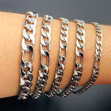 Men Women Curb Cuban Link Chain Stainless Steel Mens Womens Bracelets Jewelry for Boy
