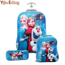3PCS/set HOT Cartoon Students Trolley Case Lovely Kids Climb Stairs Luggage Travel 3D EVA Stereo Suitcase Child Pencil Box Gift недорого