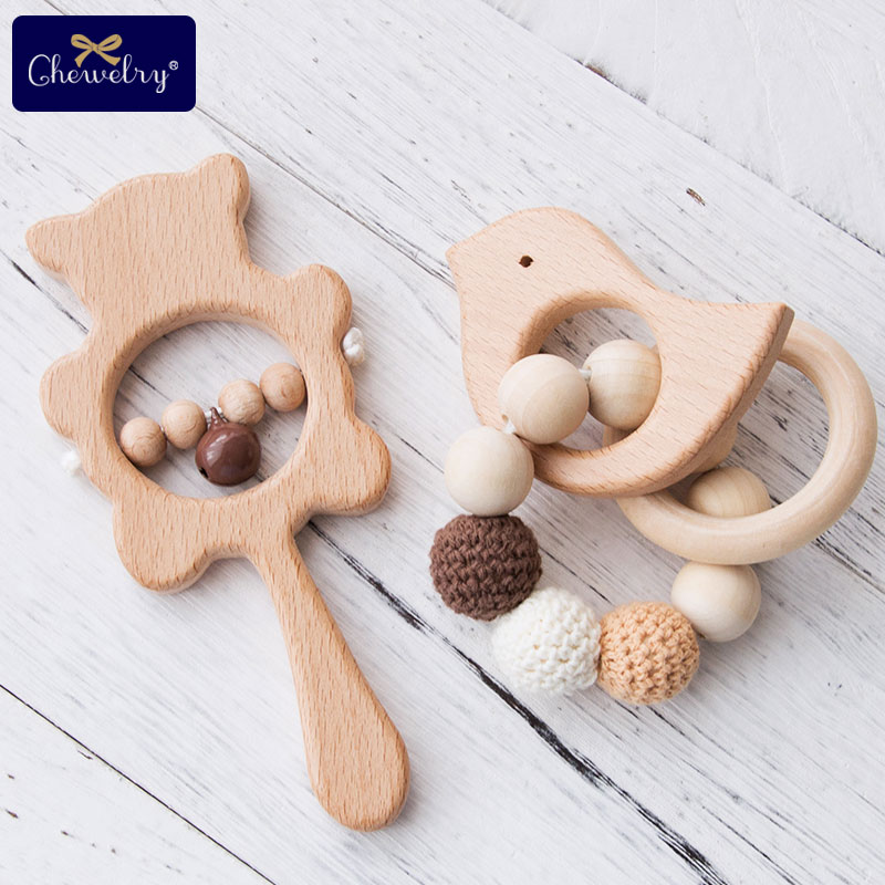 1Set Baby Toys Wooden Teether Rattle Wooden Bracelet Hand Teething Rattles Musical Chew Play Gym Stroller Toys Children Products
