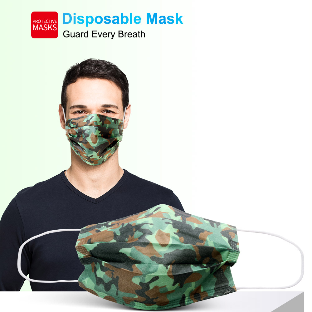 10/50/100pcs Camouflage mascarilas Disposable Face Masks Mouth  Mondmasker Mouth Mask Non-woven Melt Blown 3-layer Mascarilla