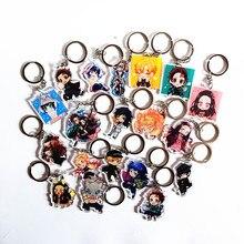 12pcs Anime Demon Slayer Kimetsu no Yaiba keychain Kamado Tanjirou Nezuko Agatsuma Zenitsu Rengoku Kyoujurou Acrylic Key Ring