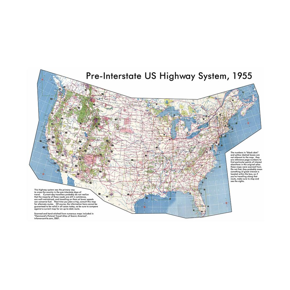 150x225cm Pre-Interstate American Highway System The United States Map School Office Wall Decor Painting Poster