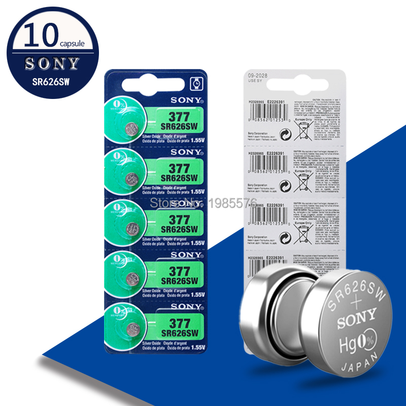 10pcs NEW FOR SONY Original 377 376 177 SR626SW 626 SR626 V377 AG4 Watch Battery Silver Oxide Button Coin Cell MADE IN JAPAN
