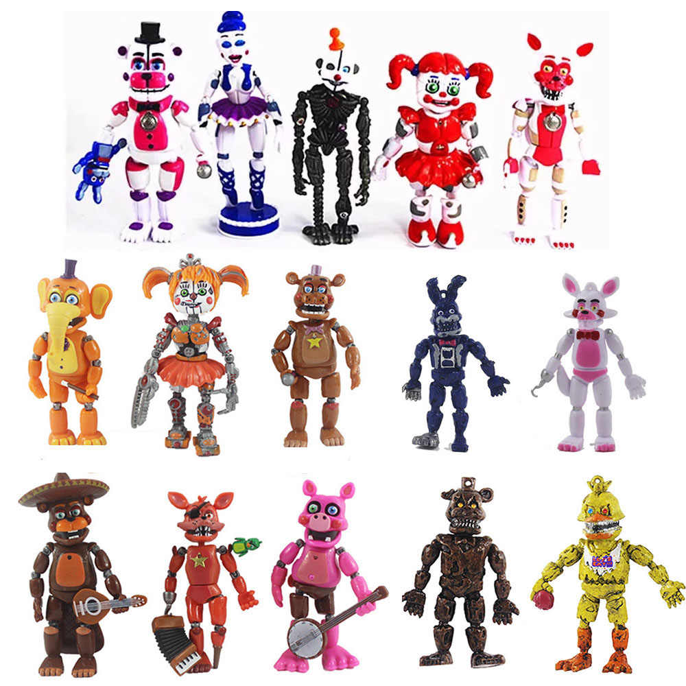 5 6pcs 2019 Five Nights At Freddy S Figures Toys Detachable Fnaf Foxy Bonnie Freddy Fazbear Sister Led Dolls Christmas Gift Toy Action Toy Figures Aliexpress