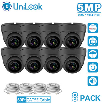 UniLook 5MP IP Camera poe onvif Audio Built in Microphone IP CCTV Security Turret Dome Camera H.265 8PACK Grey цена 2017